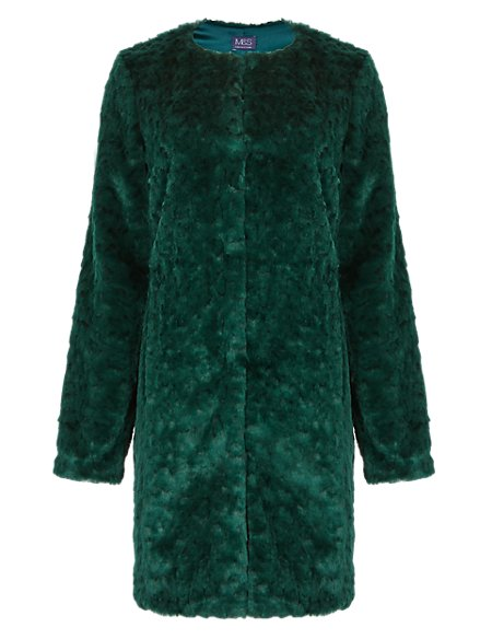Faux Fur Textured Overcoat