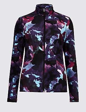 Floral Print Funnel Neck Fleece Jacket, MULTI, catlanding