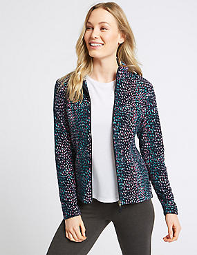 Paint Brush Print Fleece Jacket