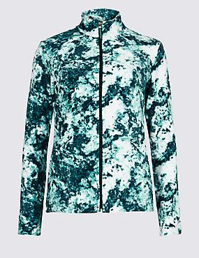 Printed Funnel Neck Fleece Jacket , AQUA MIX, catlanding