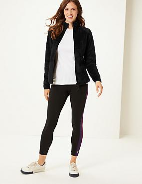 Faux Fur Long Sleeve Fleece Jacket, BLACK, catlanding