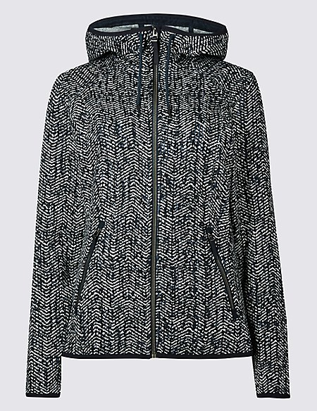 Herringbone Printed Fleece Jacket