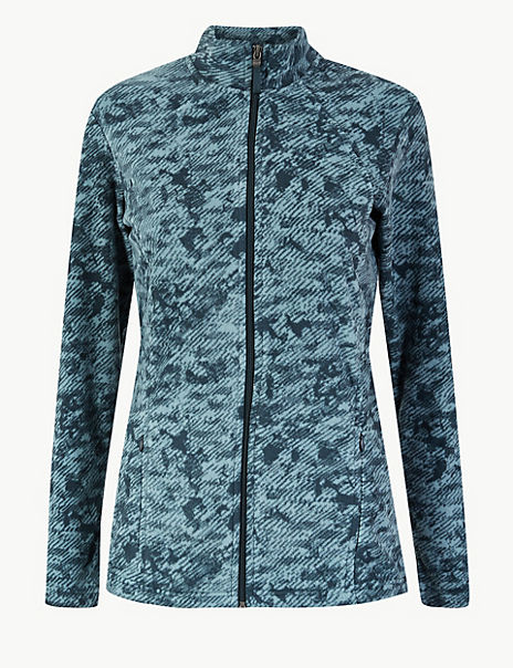 Panelled Printed Fleece Jacket