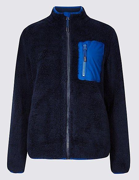 Zipped Through Funnel Neck Fleece Jacket