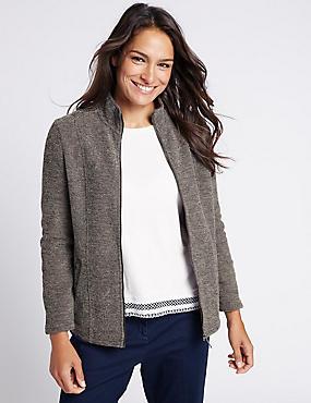 Boucle Fleece Jacket, GREY, catlanding