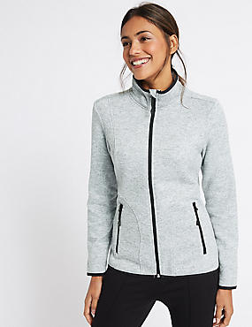 Knitted Contrasting Edge Fleece Jacket