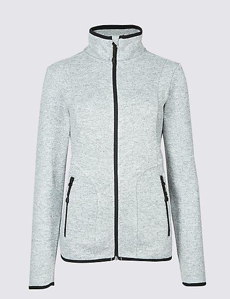 Knitted Contrasting Edge Fleece Jacket