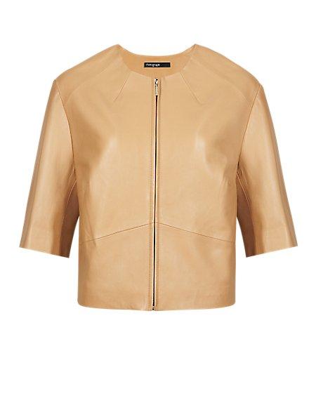 Leather Boxy Biker Jacket