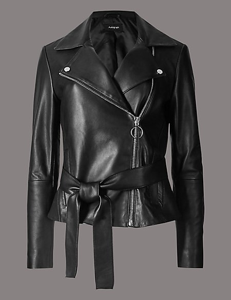 Leather Biker Jacket with Belt