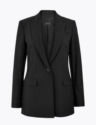 Wool Silk Blend Tailored Blazer
