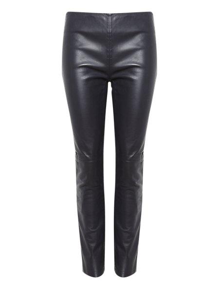 Slim Leg Leather & Ponte Knit Trousers