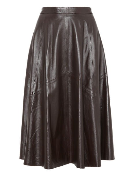 Leather Panelled Long Skirt