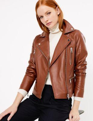 Womens Autograph Veste style motard en cuir - Copper Tan