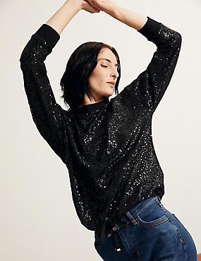 Langarm-Sweatshirt mit Pailletten