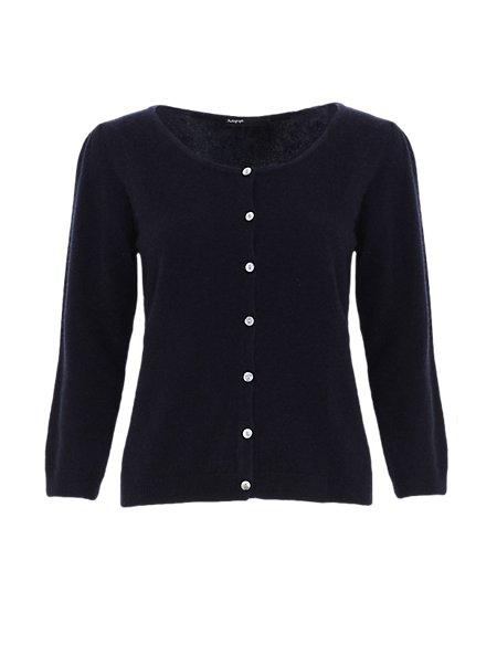 Pure Cashmere 3/4 Sleeve Cardigan