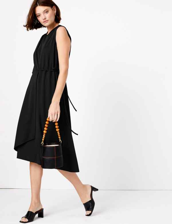 clp60451415: Jersey Sleeveless Tie Midi Wrap Dress