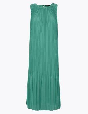 Pleated Midi Column Dress