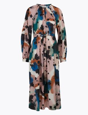 Abstract Floral Midaxi Waisted Dress
