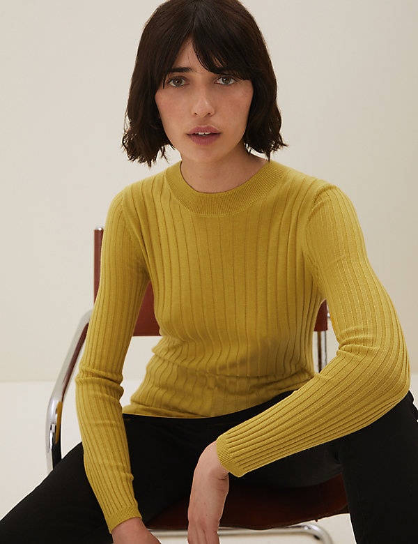 Ribbed Crew Neck Longline Jumper with Wool