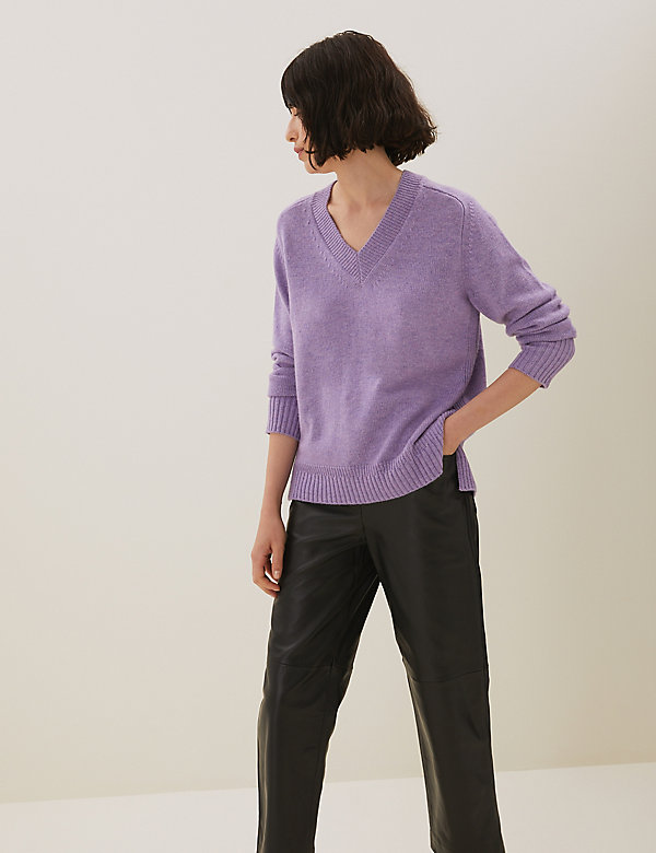 V-Neck Relaxed Jumper with Yak Wool