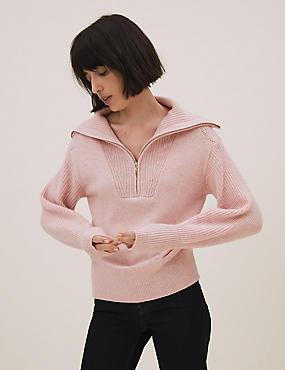 Pullover mit Reißverschluss, Kragen und Wolle