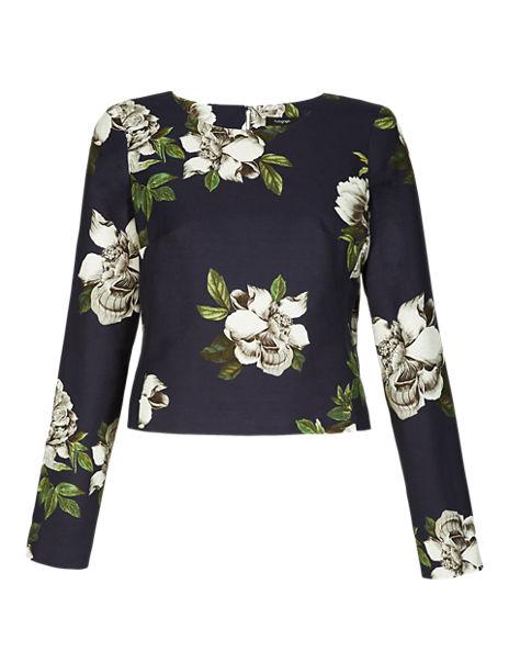 Cotton Rich Floral Cropped Top