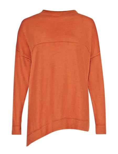 Pure Merino Wool Diagonal Hem Jumper