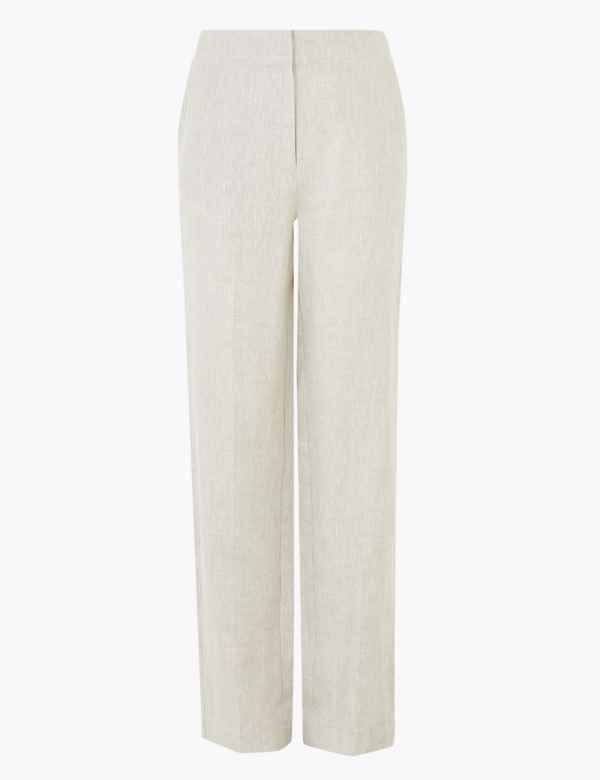 clp60453234: Pure Linen Straight Leg Trousers