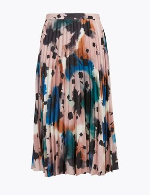 Abstract Floral Pleated Midi Skirt