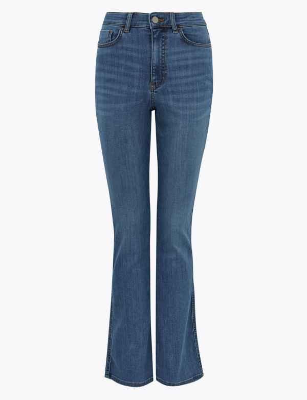 BNWT M/&S Per Una Navy Blue Straight Leg Angle Grazer Trousers Regular Leg £45