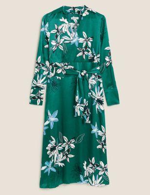 Floral V-Neck Midaxi Wrap Dress