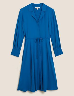 V-Neck Belted Midi Shirt Dress
