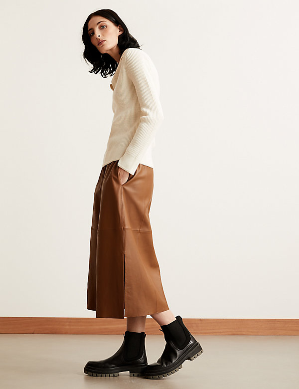 Leather Midaxi A-Line Skirt