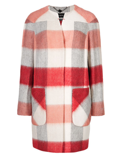 Brushed Checked Coat with Wool