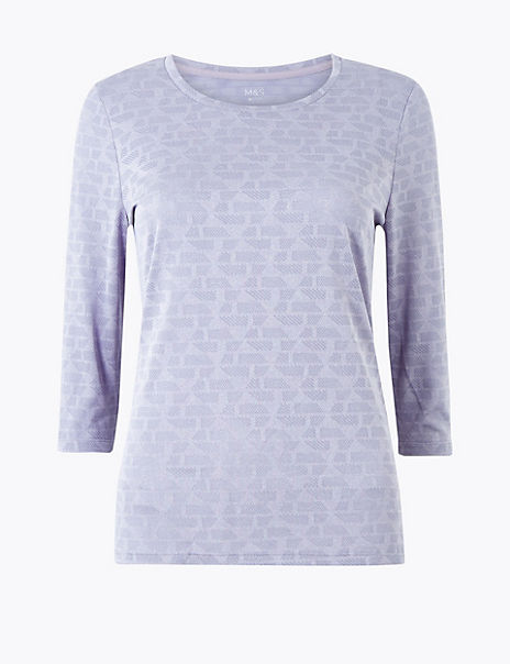Jacquard Round Neck 3/4 Sleeve Top