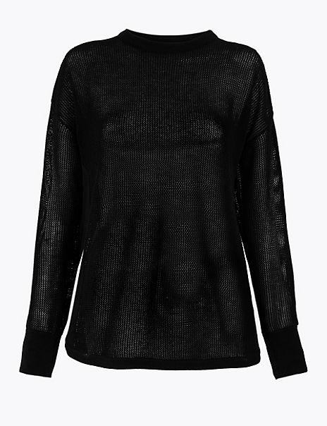 Open Knit Panelled Sweatshirt