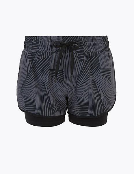 Printed Layered Running Shorts