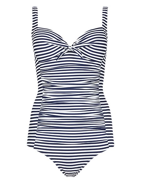 Secret Slimming™ Longer Length Bow Front Striped & Ruched Swimsuit