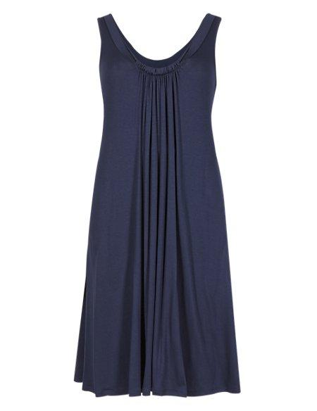 Ruched Neck Beach Dress