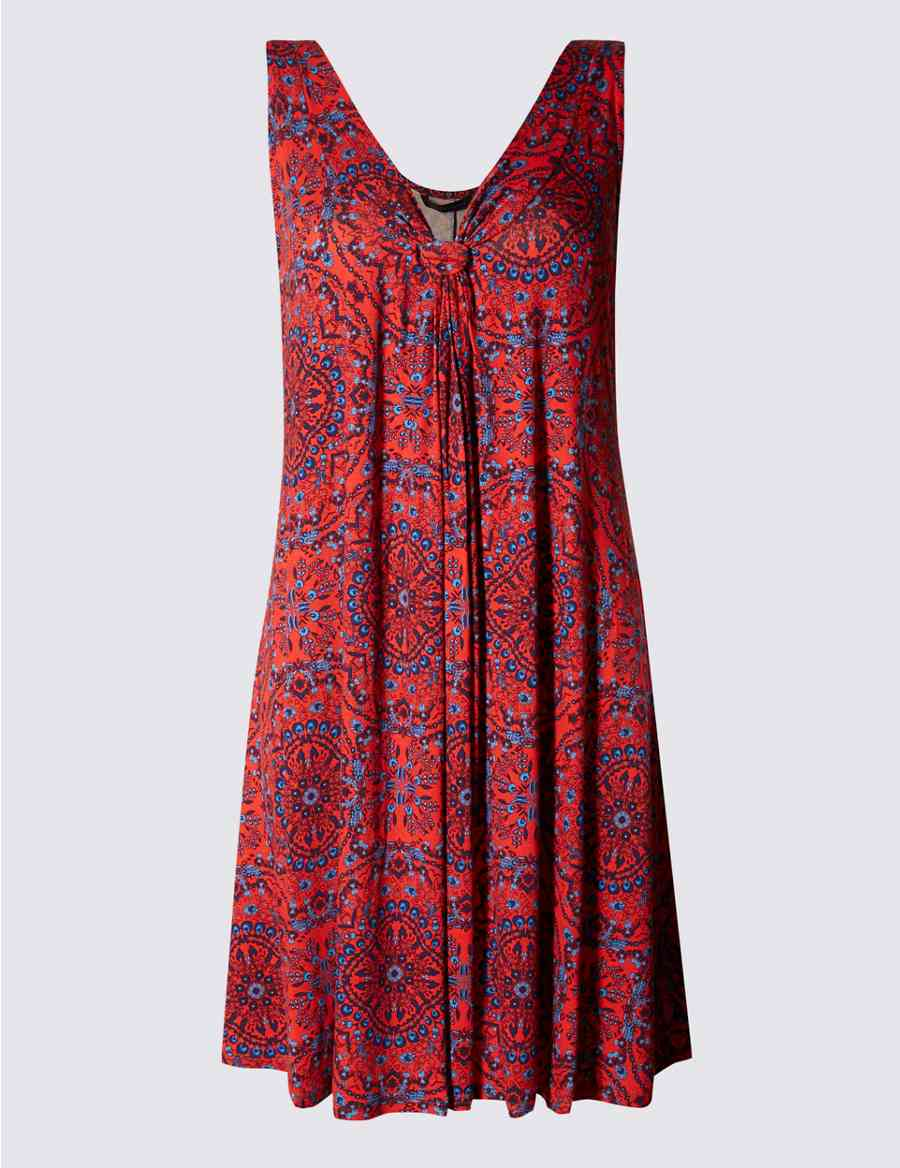 M /& S COLLECTION RED MIX MEDALLION PRINT VEST SHIFT DRESS