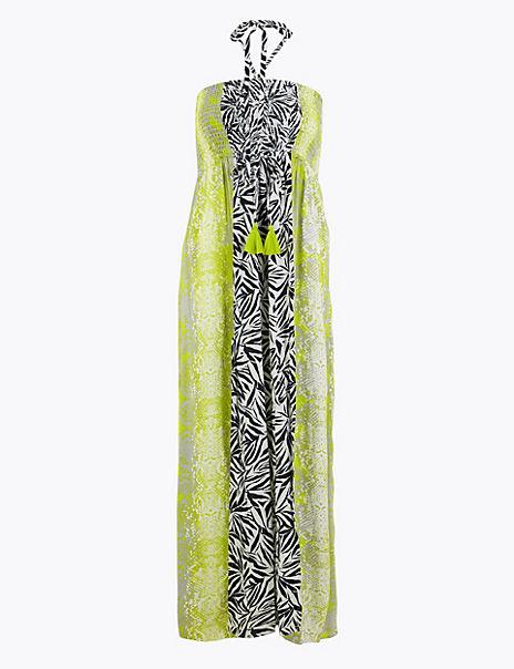 Snake & Leaf Print Shirred Maxi Beach Dress