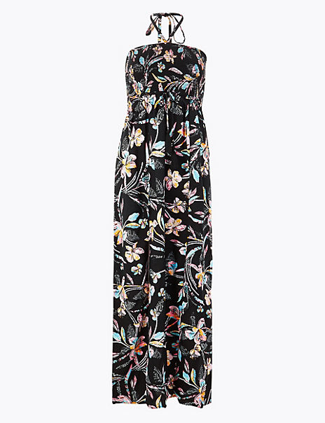 Floral Halter Neck Swing Beach Dress