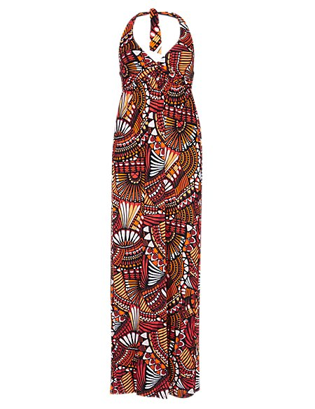 Global Print Twisted Front Maxi Dress