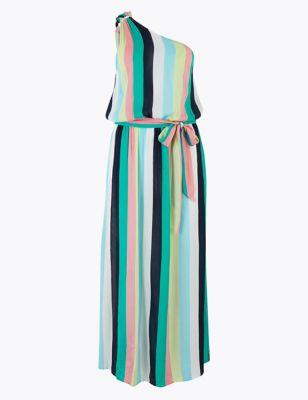 Striped One Shoulder Maxi Beach Dress