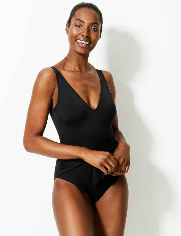 6de947910264e Secret Slimming™ Padded Plunge Swimsuit. M&S Collection