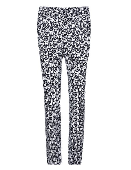 Spotted Scallop Print Tapered Leg Trousers
