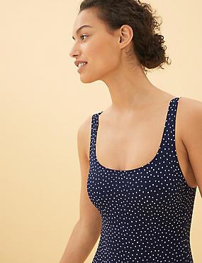 Tummy Control Polka Dot Scoop Neck Swimsuit