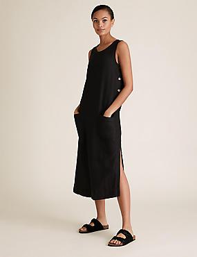 Linen Midi Shift Dress