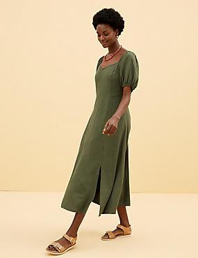 Linen Sweetheart Neckline Midi Tea Dress