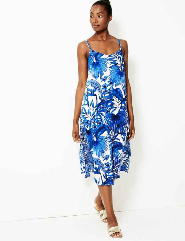 69f602de3e Palm Print Strappy Slip Beach Dress